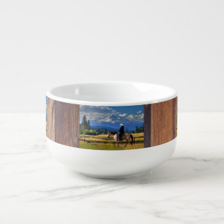 MT SHASTA WITH HORSE AND RIDER SOUP MUG