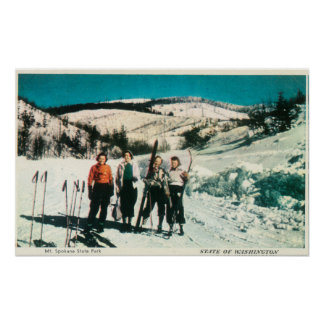 Mt. Spokane State Park Ladies SkiingWashington Poster
