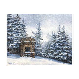 Mt Starr King Stone Fireplace - Canvas 11x14
