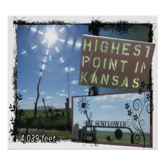 Mt. SUNFLOWER - HIGHEST POINT KANSAS POSTER