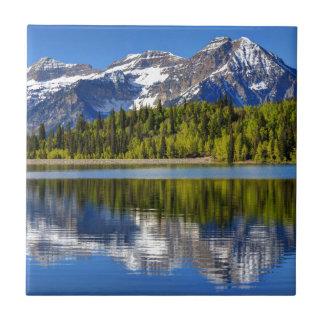 Mt. Timpanogos Reflected In Silver Lake Flat Ceramic Tile