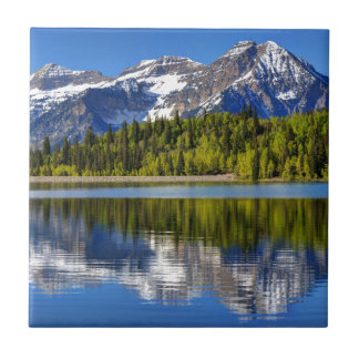 Mt. Timpanogos Reflected In Silver Lake Flat Tile