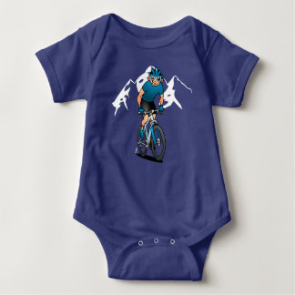 MTB - Mountain biker in the mountains Baby Bodysuit
