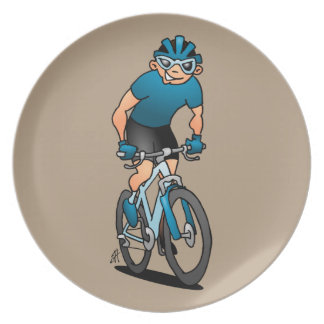 MTB - Mountain biker on his moutainbike Plate