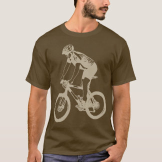 MTB Mountain Biking Solo Silhouette, Tan design T-Shirt