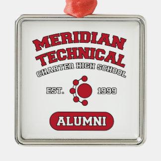 MTCHS Alumni College Style Silver-Colored Square Ornament