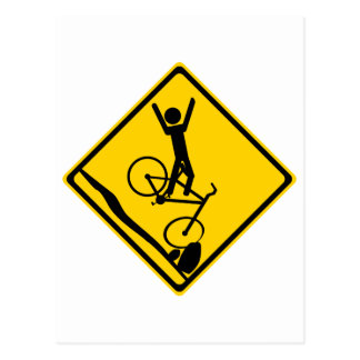Mtn Biker Crash Road Sign Postcard