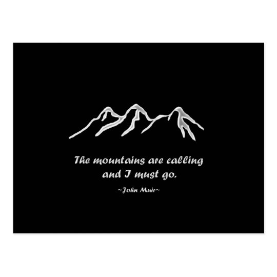 Mtns are calling/Snowy blizzard on Black Design Postcard