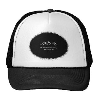 Mtns are calling/Snowy blizzard on Black splatter Trucker Hat