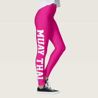Muay Thai Martial Arts Bright Pink And White Leggings