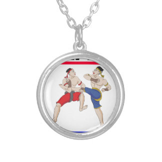 Muay Thai over everything Silver Plated Necklace