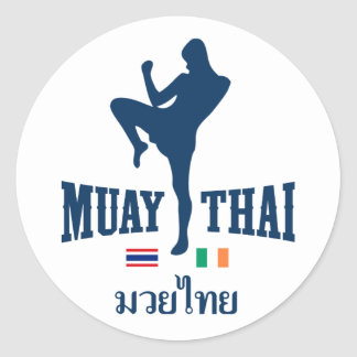 Muay Thai Thailand Ireland Round Sticker