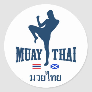 Muay Thai Thailand Scotland Round Sticker