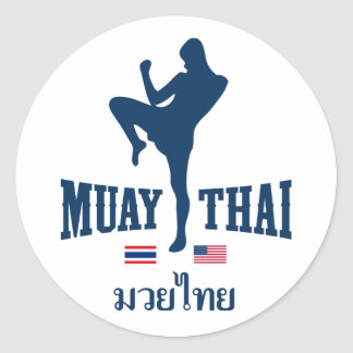 Muay Thai Thailand USA Round Sticker