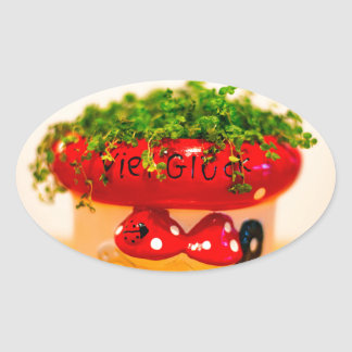 Much luck flower pot oval sticker