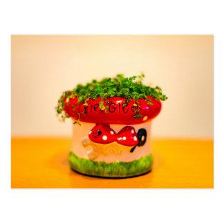 Much luck flower pot postcard