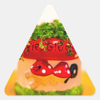 Much luck flower pot triangle sticker