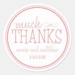 Much Thanks Labels (Blush / Terra Cotta) Round Sticker