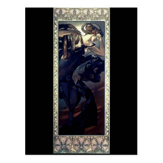 mucha art deco night star black dress woman postcard