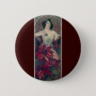 mucha art deco red flowers woman lady female 2 inch round button