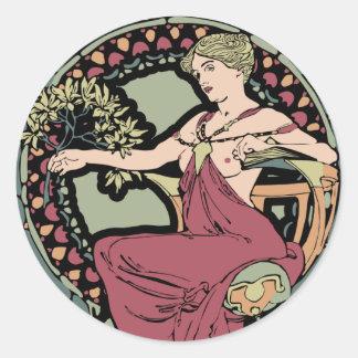 Mucha art nouveau classic round sticker
