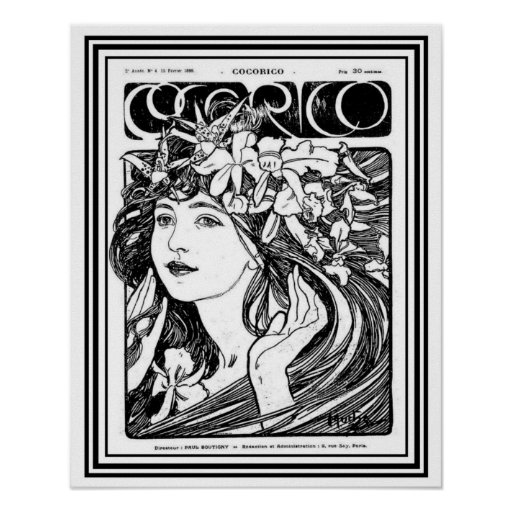 Mucha Art Nouveau Cover for Cocorico-      16 x 20 Poster