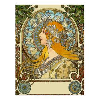 Mucha Art Nouveau Postcard -  Zodiac  - La Plume