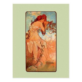 Mucha Art Nouveau Summer Postcard