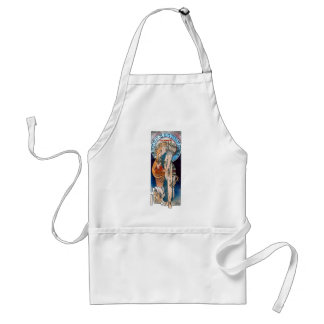mucha art nouveau thatre woman long hair aprons