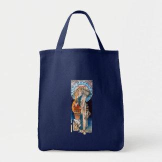 mucha art nouveau thatre woman long hair grocery tote bag