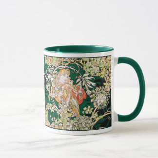 Mucha Art Nouveau: Woman With Daisy Mug
