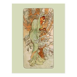 Mucha Art NouveauWinter Girl Postcard