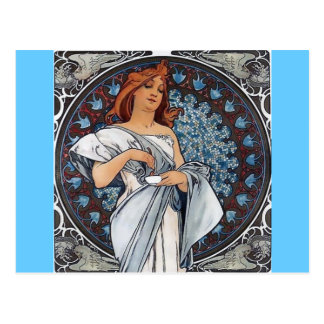 Mucha art white dress woman spoon cup postcard