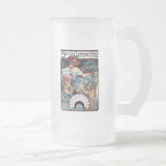mucha biscuits Lefevre utile 1897 advertisement Frosted Glass Beer Mug
