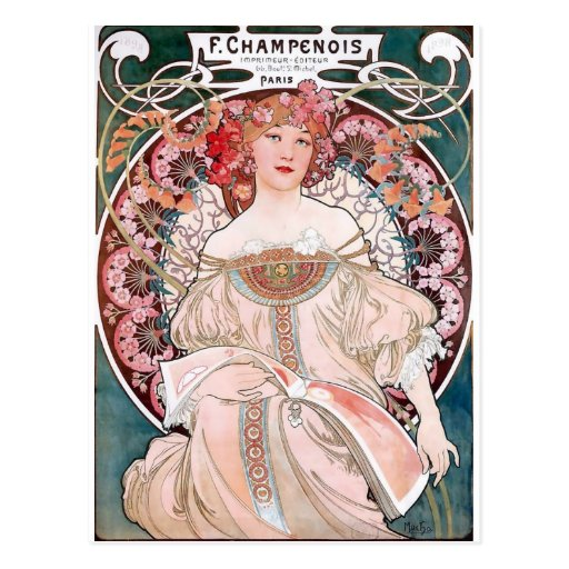 Mucha Champenois paris pink dress lady art deco Postcard