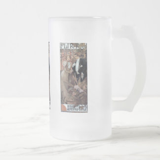 Mucha flirt woman man romantic love frosted glass beer mug