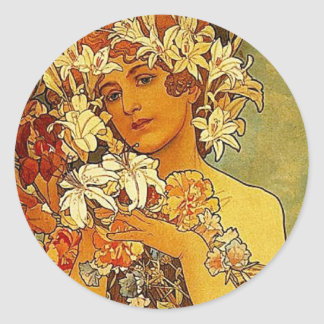 Mucha flowers classic round sticker