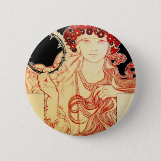 Mucha ~ Girl from Brooklyn Exhibition Poster 2 Inch Round Button