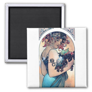 mucha grapes art deco woman fruits fall square magnet
