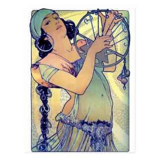 mucha gypsy tambourine dance music woman postcard