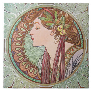 Mucha Laurel Art Nouveau Art Tile Trivet Gift Box
