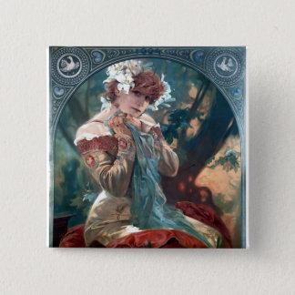 Mucha Lefevre-Utile art deco woman red dress 2 Inch Square Button