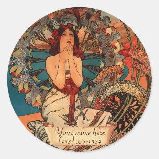 Mucha Monte Carlo Art Nouveau Bookplate Stickers