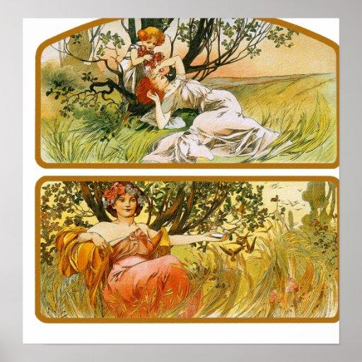 Mucha Poster Print: Two Nature Scenes