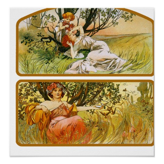 Mucha Poster Print: Two Nature Scenes