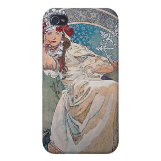 Mucha Princess art deco Cases For iPhone 4
