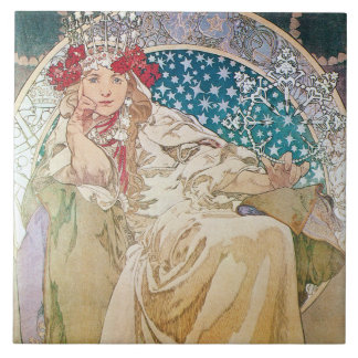 Mucha Princess Hyacinth Tile Trivet Gift Box
