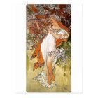 Mucha Spring blonde lady white dress pretty Postcard