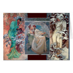 Mucha winter princess collage art deco greeting cards