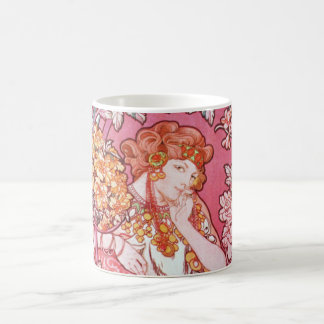 Mucha Woman Among the Flowers Art Nouveau Mug